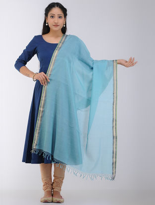 Blue Maheshwari Dupatta with Zari Border
