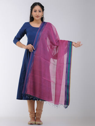 Pink-Blue Maheshwari Dupatta with Woven Border