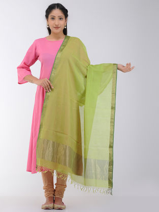 Green Maheshwari Dupatta with Zari