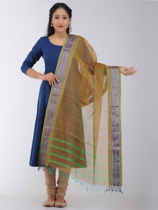 Brown Maheshwari Dupatta with Woven Border