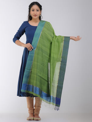 Green-Blue Maheshwari Dupatta with Zari Border