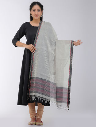 Ivory-Black Striped Maheshwari Dupatta