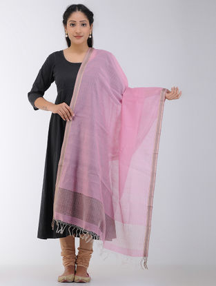 Pink Maheshwari Dupatta with Woven Border