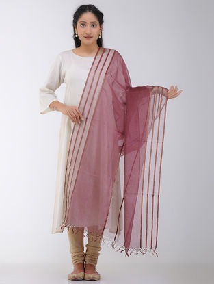 Pink Maheshwari Dupatta with Zari Border