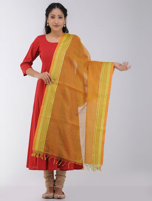 Orange-Yellow Maheshwari Dupatta with Woven Border