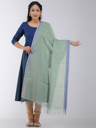 Green-Blue Maheshwari Dupatta with Woven Border