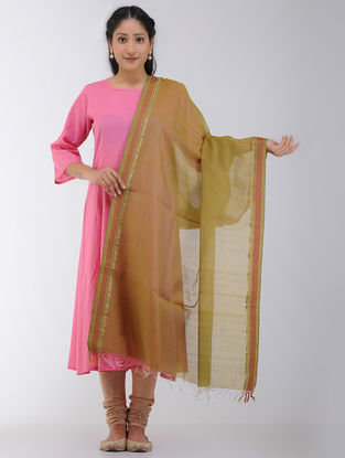 Green-Pink Maheshwari Dupatta with Woven Border