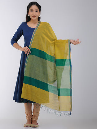 Mustard-Green Maheshwari Dupatta with Woven Border