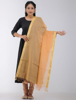 Orange Maheshwari Dupatta with Zari Border