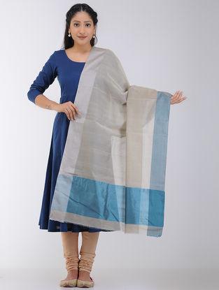 Beige-Blue Maheshwari Dupatta