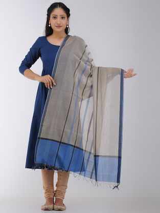 Blue-Beige Maheshwari Dupatta with Woven Border