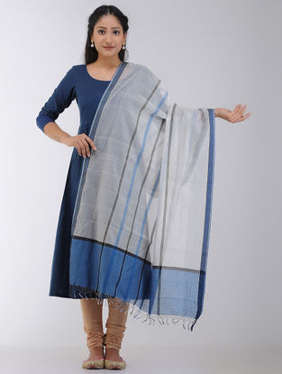 Ivory-Blue Maheshwari Dupatta with Woven Border