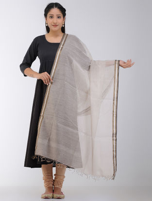 Ivory Maheshwari Dupatta with Zari Border