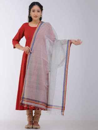 Grey Maheshwari Dupatta with Zari Border
