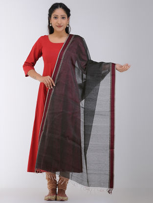 Black Maheshwari Dupatta with Woven Border