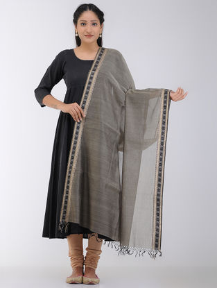 Grey Maheshwari Dupatta with Zari and Woven Border