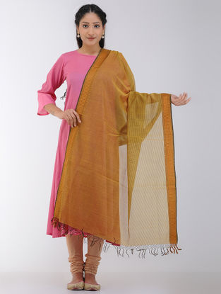 Yellow-Black Maheshwari Dupatta with Woven Border