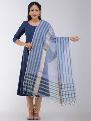 Blue Maheshwari Dupatta with Zari