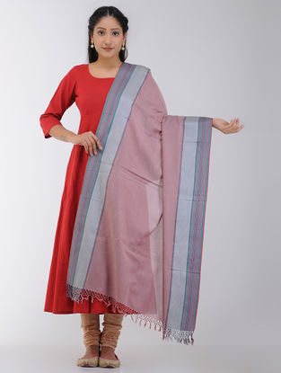 Red-Grey Maheshwari Dupatta with Woven Border