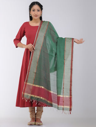Green-Red Maheshwari Dupatta with Zari Border