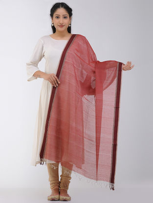 Red Maheshwari Dupatta with Woven Border