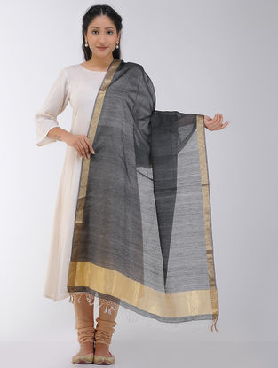 Black Maheshwari Dupatta with Zari Border