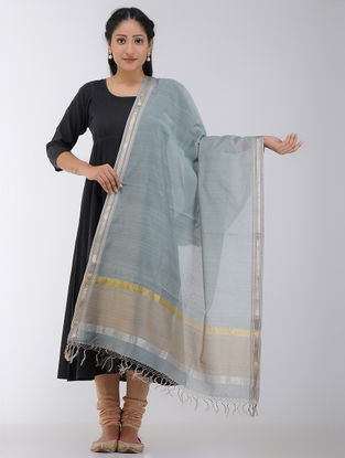 Grey-Beige Maheshwari Dupatta with Zari Border