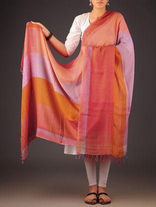 Fuschia-Purple Uttrakhand Cotton Twill Handblock Printed Dupatta