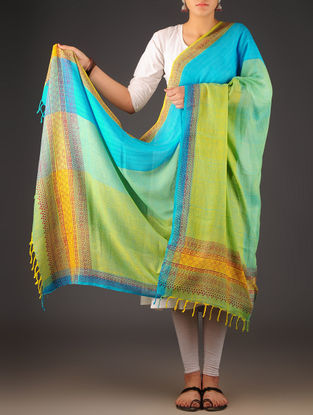 Sky Blue-Multi-Color Uttrakhand Cotton Twill Handblock Printed Dupatta