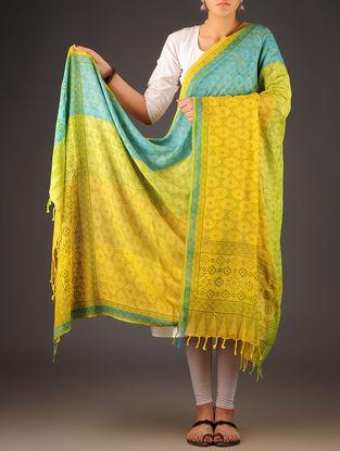 Yellow-Lime Green Uttrakhand Cotton Twill Handblock Printed Dupatta