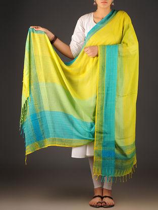Yellow-Sky Blue Uttrakhand Cotton Twill Handblock Printed Dupatta