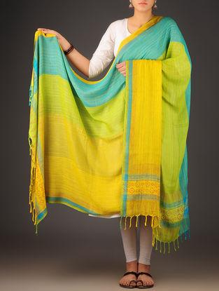 Lime Green-Sky Blue Uttrakhand Cotton Twill Handblock Printed Dupatta