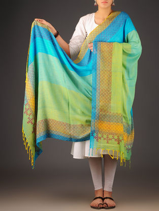 Sky Blue-Yellow-Lime Uttrakhand Cotton Twill Handblock Printed Dupatta