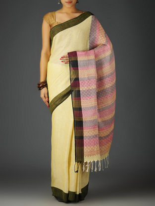 Yellow-Multi-Color Uttrakhand Cotton Netweave Handblock Printed Saree