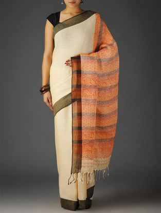 Ivory-Multi-Color Uttrakhand Cotton Netweave Handblock Printed Saree