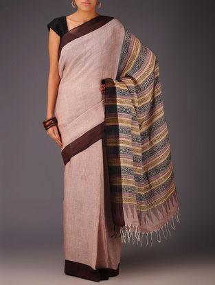 Red-Maroon Uttrakhand Cotton Netweave Handblock Printed Saree