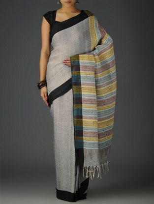 Grey-Black-Multi-Color Uttrakhand Cotton Netweave Handblock Printed Saree