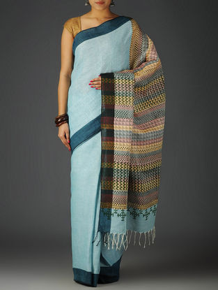 Sky Blue-Multi-Color Uttrakhand Cotton Netweave Handblock Printed Saree