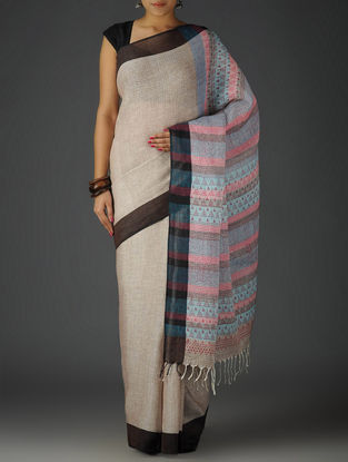 Brown-Multi-Color Uttrakhand Cotton Netweave Handblock Printed Saree