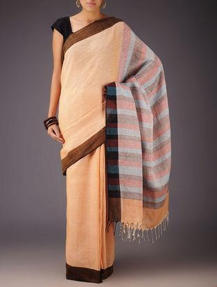 Orange-Multi-Color Uttrakhand Cotton Netweave Handblock Printed Saree