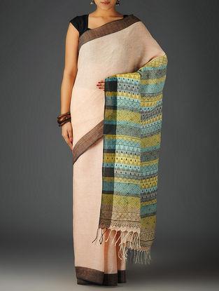 Peach-Multicolor Uttrakhand Cotton Netweave Handblock Printed Saree