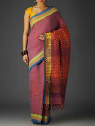 Purple-Multi-Color Uttrakhand Cotton Twill Handblock Printed Saree