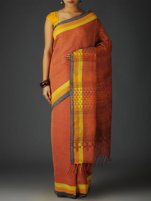 Red-Multi-Color Uttrakhand Cotton Twill Handblock Printed Saree