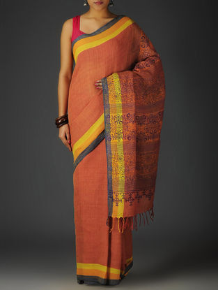 Red-Blue-Multi-Color Uttrakhand Cotton Twill Handblock Printed Saree