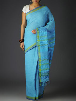 Sky Blue-Green Uttrakhand Cotton Twill Handblock Printed Saree