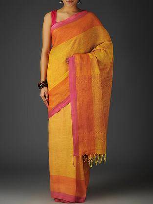 Yellow-Orange-Pink Uttrakhand Cotton Twill Handblock Printed Saree