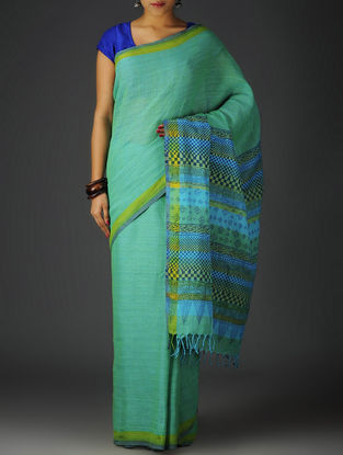 Mint Green-Sky Blue Uttrakhand Cotton Twill Handblock Printed Saree