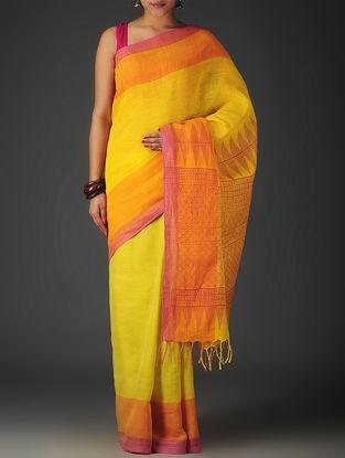 Yellow-Lime-Orange Uttrakhand Cotton Twill Handblock Printed Saree