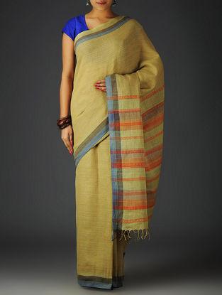 Olive-Red Uttrakhand Cotton Twill Handblock Printed Saree