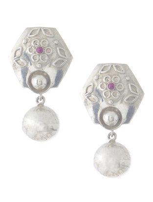 Floral Pink Silver Drop Earrings